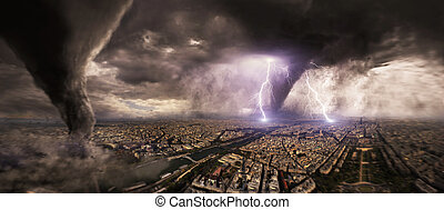 Large Tornado disaster on a city - View of a large tornado...