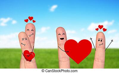 Happy finger couple in love celebrating Valentine day -...