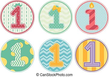 Number 1 Design Patterns Birthday Girl - Illustration...