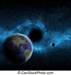 Black hole in space - View of a black hole in space