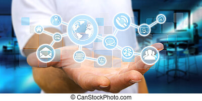 Businessman holding digital tactile screen web network with...