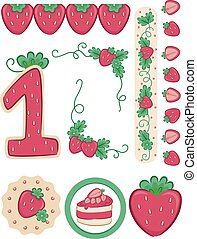 Number 1 Design Strawberry Birthday - Illustration of a...