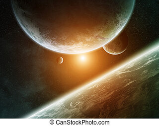Sunrise over group of planets in space - View of a sunrise...