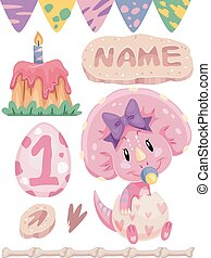 Number Design Triceratops 1st Bday - Illustration of a...