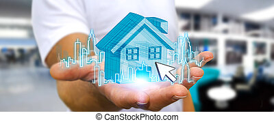 Businessman real estate - Businessman with digital house and...