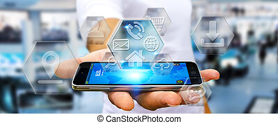 Businessman using modern digital mobile phone applications -...