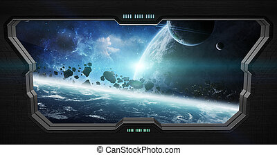 View of outer space from inside a space station - Window...