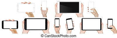 Hand holding mobile phone - Person holding modern blank...