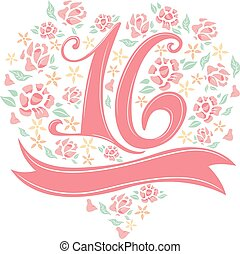 Number Design Floral Pink Ribbon - Illustration of the...