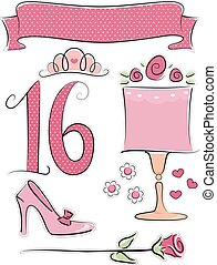 Number Design Pink Polka Dots Elements - Illustration of...