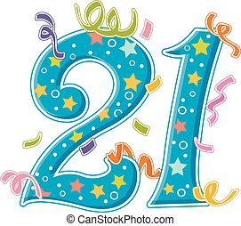 Number Design 21 Confetti Stars - Illustration Featuring the...