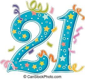 Number Design 21 Confetti Stars