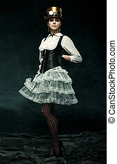 Portrait of a beautiful steampunk girl in elegant dress, hat...