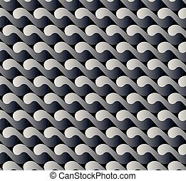 seamless pattern with waves yin yang black white