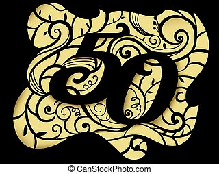 Number Design 50th Anniversary Paper Cutout - Illustration...