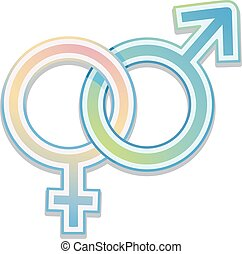 Male Female Sign - Illustration Featuring Intertwined Male...
