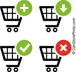 Add and delete shopping cart icons set