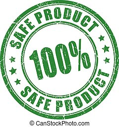 Safe product rubber stamp isolated on white background