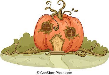 Garden Pumpkin House - Illustration of a Pumpkin House with...
