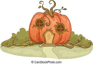 Garden Pumpkin House - Illustration of a Pumpkin House with...