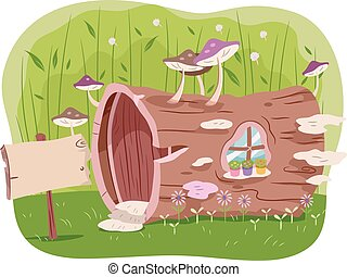 Garden Tree Trunk House - Illustration of a House Made from...