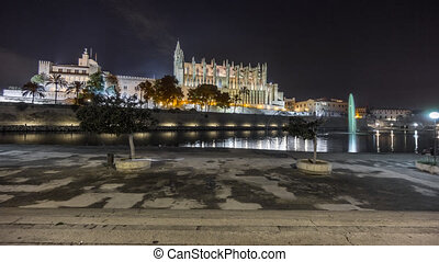 Mallorca cathedral by night - Wide angle view of Cathedral...