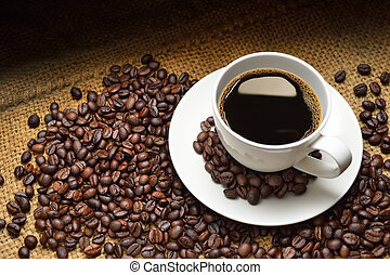 Coffee cup nd coffee beans