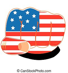 Flag of the america on fist
