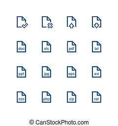 File icon set - vector minimalist Different files on the...