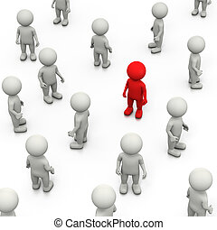Stand Out - Red 3D Character Stand Out in a Crowd of White,...