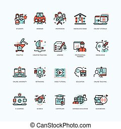 Distance education, online tutorials courses, video and staff training, digital library vector line icons with flat elements