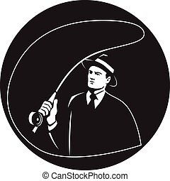 Mobster Suit Tie Casting Fly Rod Circle Retro - Illustration...