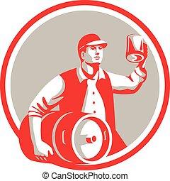 American Worker Keg Toast Beer Mug Circle Retro -...