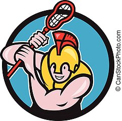 Gladiator Lacrosse Player Stick Circle Cartoon -...