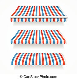 Striped Colorful Awnings Set. Vector - Striped Colorful...