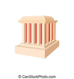Building with columns icon, cartoon style