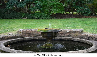 Garden fountain with running water with green lawn on the...