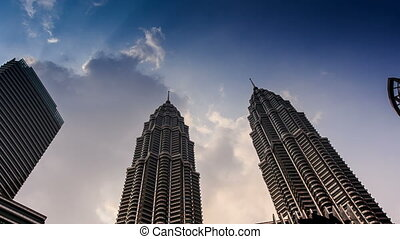Clouds Motion over Petronas Twin Towers Taken from Downwards...