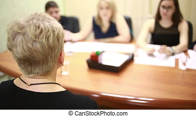 adult woman is interviewed employment of retirees selection...
