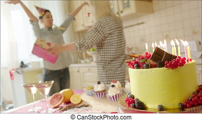 Women having fun at home party