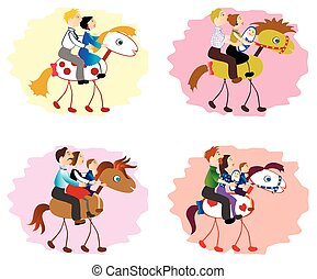 Set of images of funny family - mother, father, children on horse. EPS10 vector illustration.