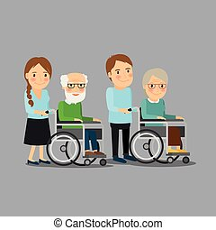 Social worker strolling wheelchair with elderly man and...