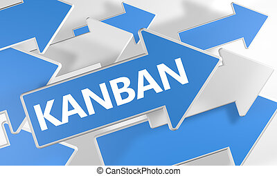 Kanban 3d render concept with blue and white arrows flying...