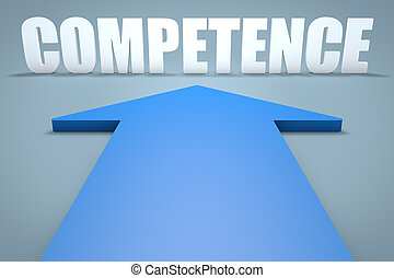 Competence - 3d render concept of blue arrow pointing to...