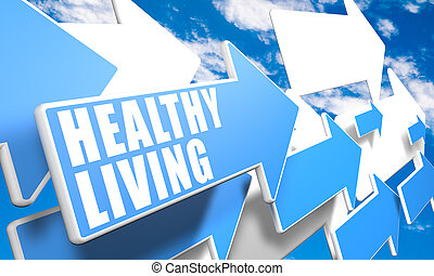 Healthy Living 3d render concept with blue and white arrows...