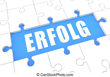 Erfolg - german word for success - puzzle 3d render...