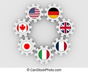 Giant seven members national flags on gears - G7 association...