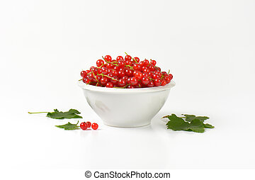 Fresh picked red currants in bowl