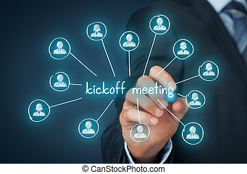 Kickoff meeting concept. Scheme illustrating first meeting...
