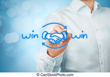 Win win strategy - Win-win partnership strategy concept...